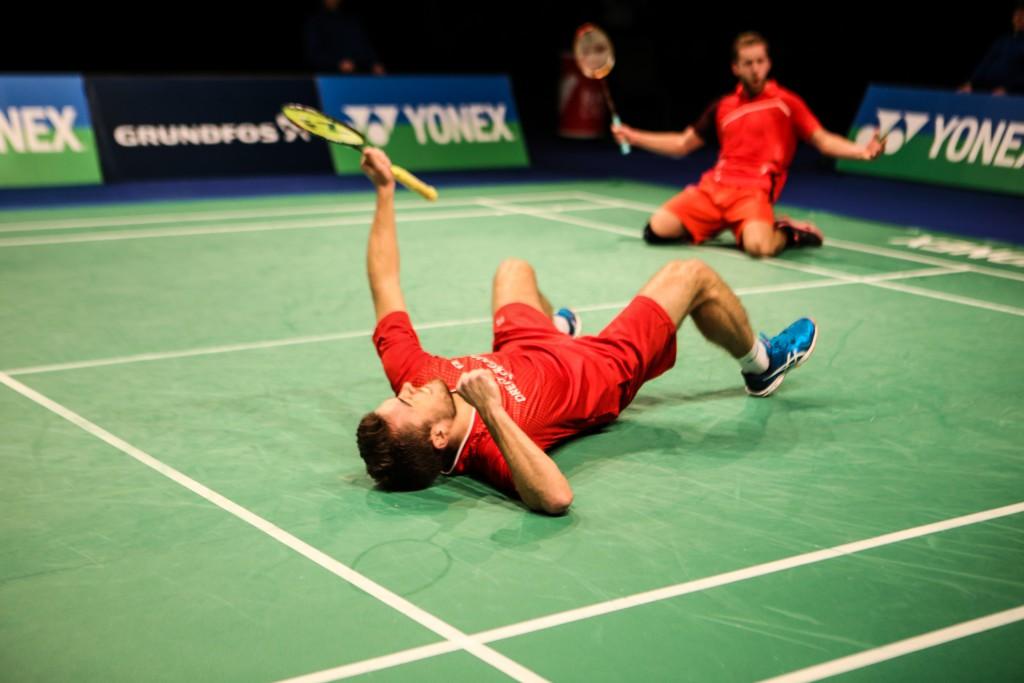 Rasmus Fladberg (L) and Frederik Colberg (R) celebrate their win over Mathias Christiansen and David Daugaard in men's doubles final.