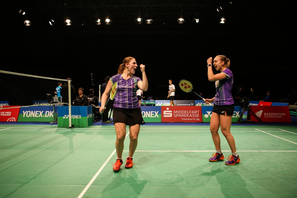 Maiken Fruergaard (l) and Sara Thygesen (r) celebrate a point in their Ladies Doubles semi-final against Julie Finne-Ipsen and Rikke Søby Hansen.